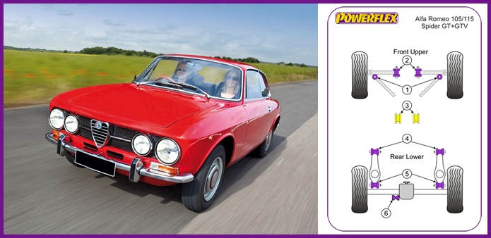 powerflex alfa romeo 105/115 spider gt + gtv bushes, powerflex